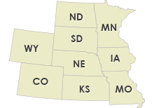 Nebraska, Colorado, Kansas, North Dakota, South Dakota, Wyoming, Minnesota, Iowa, Missouri
