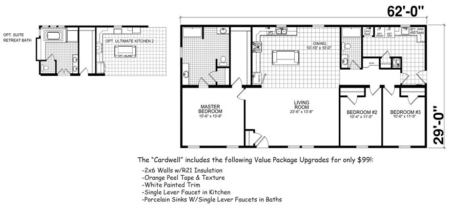 Cardwell 29 x 62 1798 sqft mobile home factory expo home for Single wide floor plans with porch
