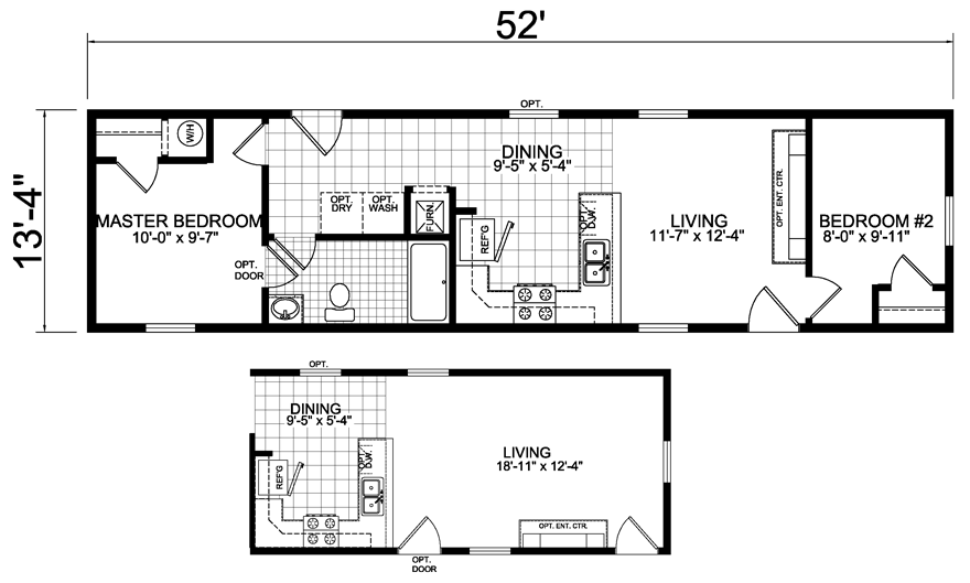 2 bedroom 1 bath single wide mobile home floor plans One bedroom one bath mobile home
